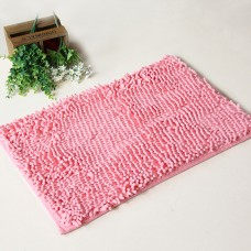 Chenille Bath Rugs Non Slip Absorbent Bath Mats, 23 x 16 Inch (Pink)