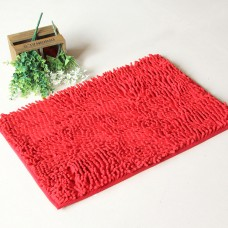 Chenille Bath Rugs Non Slip Absorbent Bath Mats, 23 x 16 Inch (Red)