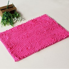 Chenille Bath Rugs Non Slip Absorbent Bath Mats, 23 x 16 Inch (Rose Red)