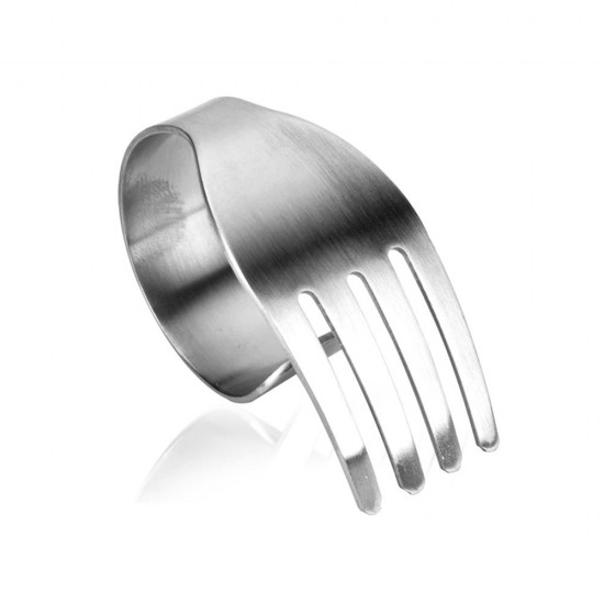 MyLifeUNIT Brushed Stainless Steel Fork Shaped Napkin Rings Set of 4