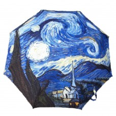Painting Starry Night Style Automatic Folding Travel Compact Umbrella