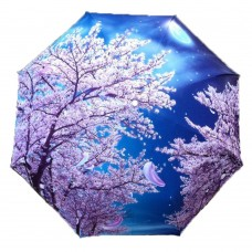Japanese Style Sakura Moon Night Automatic Folding Travel Compact Umbrella