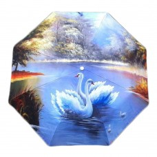 Painting The Swan Lake Automatic Folding Travel Compact Umbrella