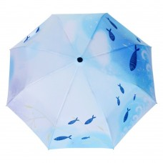 Smiling Fish Painting Automatic Folding Travel Compact Umbrella