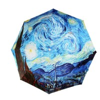 Original Van Gogh Starry Night Oil Painting Automatic Folding Travel Compact Umbrella