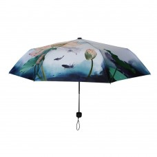 Chinese Ink Wash Painting Moonlight Over The Lotus Pond Automatic Folding Travel Compact Umbrella
