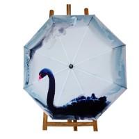 Black Swan Painting Automatic Folding Travel Compact Umbrella