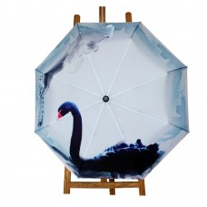 Black Swan Painting Automatic Folding Travel Compact Umbrella