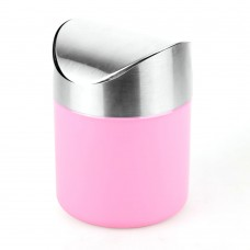 Mini Countertop Trash Can, Stainless Steel, 1.2 L (Pink)