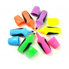 Highlighter Marker Pen, Yellow & Green & Blue & Pink & Orange & Purple, Set of 6pcs