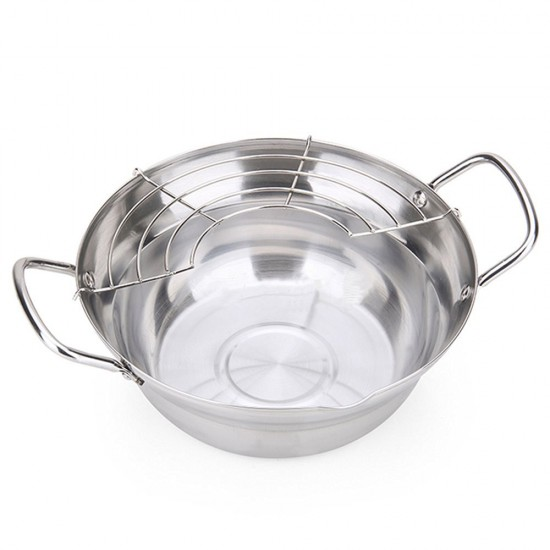 20 cm MyLifeUNIT Tempura Fryer Pot 8 Inch OF16L204 Stainless Steel Deep Fry Pan with Drainer
