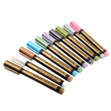 Set of 10 Colors Metallic Pens for Poster Making, Waterproof Painting Markers
