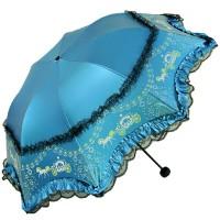 Lace Umbrella, Pumpkin Carriage Windproof Compact Folding Umbrella, Blue