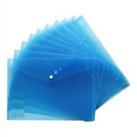 15pcs Transparent A4 Paper Size PP Water Resistant File Holder Clear Filing Envelope with Snap Button (Blue)