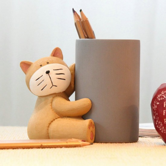 Mylifeunit Cute Cat Bamboo Pen Pencil Cup Holder Desk Organizers 5