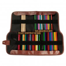 72 Hole Roll Up Pencil Case, Canvas Leather Pencil Wrap Organizer for School Office Art Craft