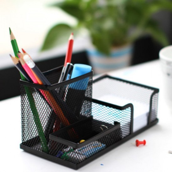 Mylifeunit Black Multifunctional Pen Pencil Cup Holder Desk Tidy Organizers 7 X 3