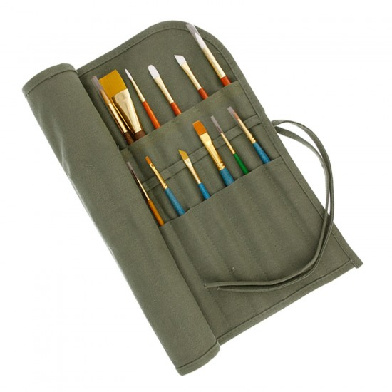 Mylifeunit 22 slots artist roll up canvas oil paint brush for Canvas roll for painting