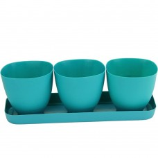 Blue Plastic Plant Pot for Decoration of Home Office Desk Garden Flower Shop