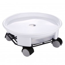 "8"" Plant Saucer Caddy with Caster Wheels and a Water Container (White)"
