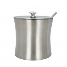 Stainless Steel Sugar Bowl with Lid and Spoon Set