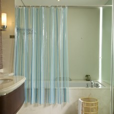 Blue Stripes Transparent Shower Curtain