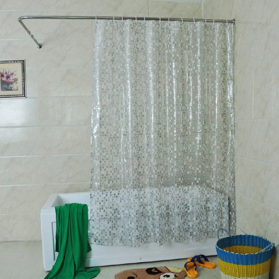 MyLifeUNIT Solid Square Clear Shower Curtain 72 X Inch
