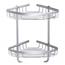 Aluminum Wall Mount Shower Caddy Corner Backet Shelf 170mm Radius (2)