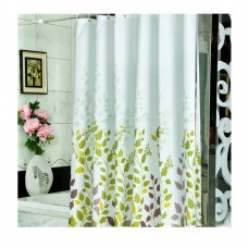 Green Leaves Thickening Waving Waterproof Shower Curtain 70x70 inch