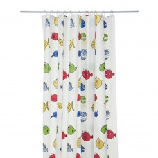 Shower Curtain, Cartoon Fish Print Pattern, 70x70 inch