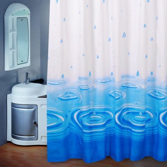 MyLifeUNIT Shower Curtain Rain Drop Blue Print Pattern 70x70 Inch