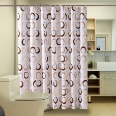 Shower Curtain, Brown Circle Print Pattern, 70x70 inch