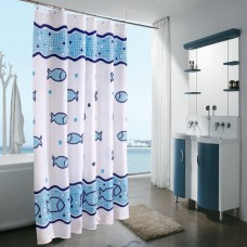 Shower Curtain Blue Fish Pattern 70x70 Inch