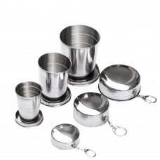 Portable Stainless Steel Camping Cups, Outdoor Collapsible Travel Cups for Picnicking Hiking Backpacking (3 PCS)
