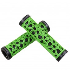 Comfort Soft Rubber Mountain Bike Grips, Aluminum Alloy Locking Ring Bike Handlebar Grips (Green)