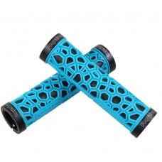 Comfort Soft Rubber Mountain Bike Grips, Aluminum Alloy Locking Ring Bike Handlebar Grips (Blue)