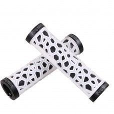 Comfort Soft Rubber Mountain Bike Grips, Aluminum Alloy Locking Ring Bike Handlebar Grips (White)