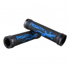 Waterproof Rubber Mountain Bike Grips, Aluminum Alloy Locking Ring Bike Handlebar Grips (Blue)