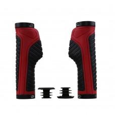 Ergonomic design Waterproof Rubber Mountain Bike Grips, Aluminum Alloy Locking Ring Bike Handlebar Grips (Red)