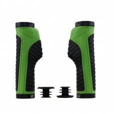 Ergonomic design Waterproof Rubber Mountain Bike Grips, Aluminum Alloy Locking Ring Bike Handlebar Grips (Green)