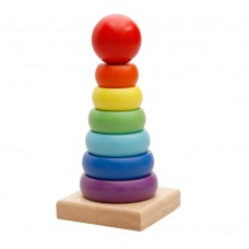 Wooden Rainbow Stacker, Baby Stacking Rings Classic Sensory Educational Toy