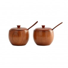 Natural Wooden Salt box, Condiment Seasoning Storage Container, Spice Box with Spoon, Set of 2