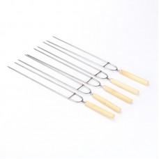 10 Inch Wood Handle Stainless Steel Barbecue BBQ Skewers Shish Kebab Kabob Skewers 12 Pcs/Set