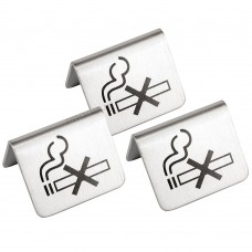 Brushed Stainless Steel No Smoking Table Sign 2 by 1.5-Inch (Pack of 3)