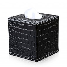 PU Leather Square Roll Paper Box for holding Kleenex ficial paper Case Tray Pumping for Home Office Car Tissue Box Holder (Black Alligator)