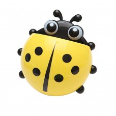 Cute Ladybug Suction Toothbrush Toothpaste Holder Four Color Option (yellow)