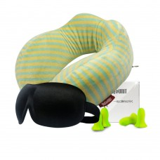 Memory Foam Travel Pillow Set, Neck Pillow with Sleep Mask, 2 Pair of Earplugs, Carry Bag for Convenient Storage (Green Stripes)