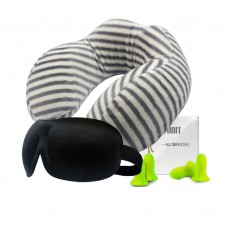 Memory Foam Travel Pillow Set, Neck Pillow with Sleep Mask, 2 Pair of Earplugs, Carry Bag for Convenient Storage (Black and White Stripes)