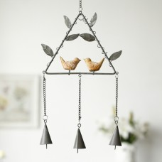 Metal Wind Chimes, Iron Triangle with Maple Leaf and Two Birds Wind Bells (Triangle Bracket Gray)