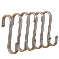 Flat S Hooks Hanging Rail Pot Pan Hanger Utensil Garage Clothes (112mm)